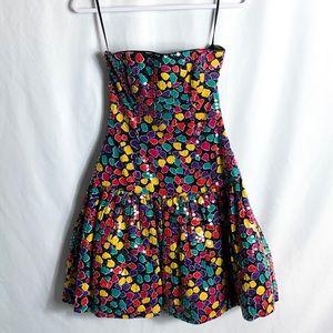 Vintage Colorful Sequin Strapless Dress